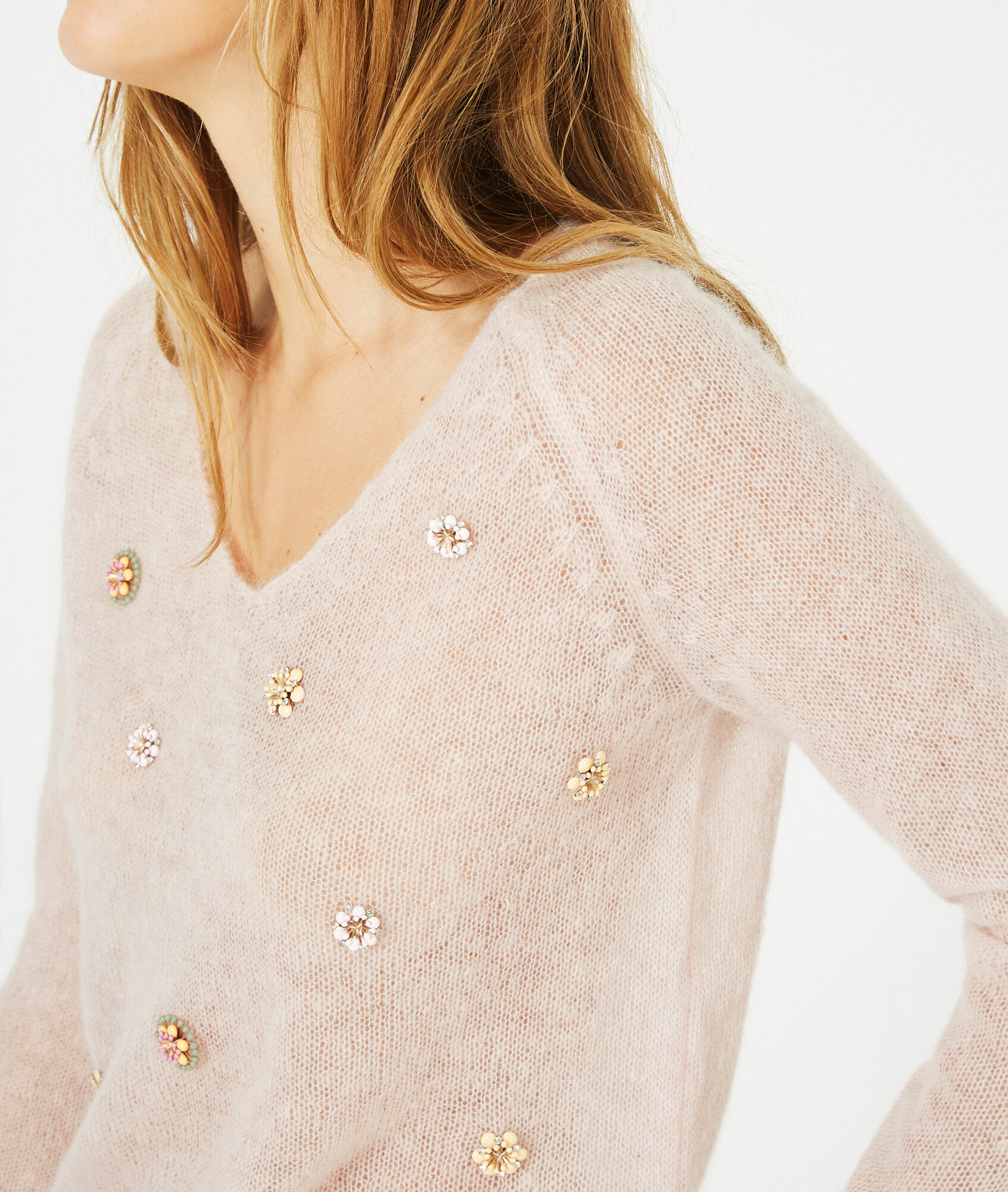 Pensée pale pink sweater with embroidered flowers - 123
