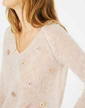 Pensée pale pink sweater with embroidered flowers light pink.