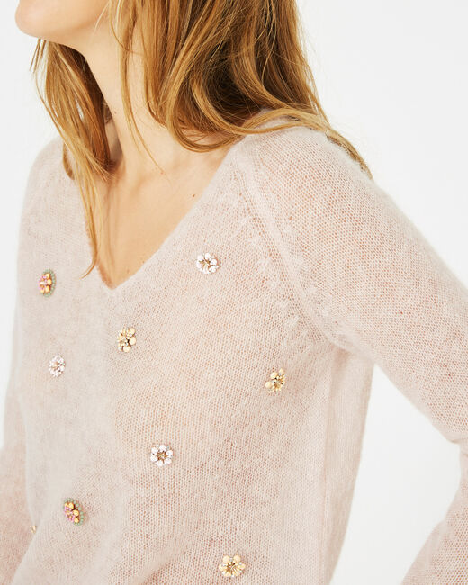 Pensée pale pink sweater with embroidered flowers (2) - 1-2-3