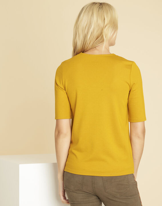 Goeland yellow T-shirt with eyelet detailing on the pockets (4) - 1-2-3
