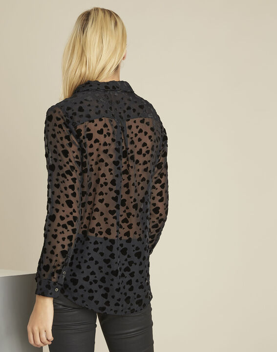Christina black devore heart print blouse (4) - 1-2-3