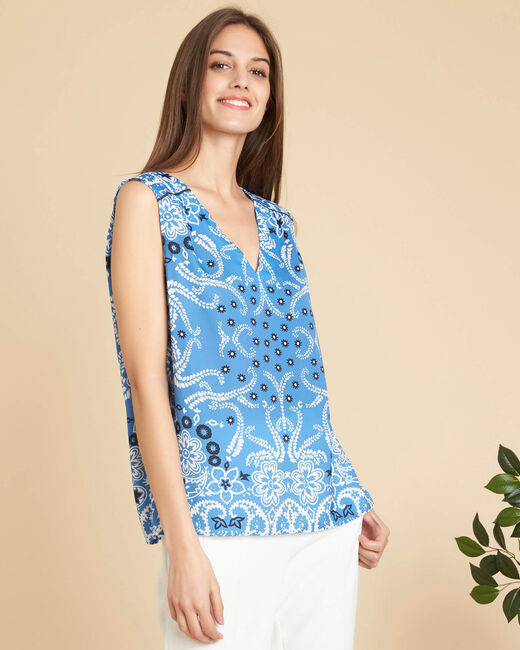Glacon V-neck sky blue sleeveless top with tie (2) - 1-2-3