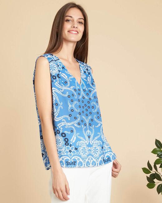 Glacon V-neck sky blue sleeveless top with tie (2) - 1-2-3