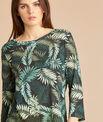 Ebahi leaf print T-shirt with 3/4 length sleeves PhotoZ | 1-2-3