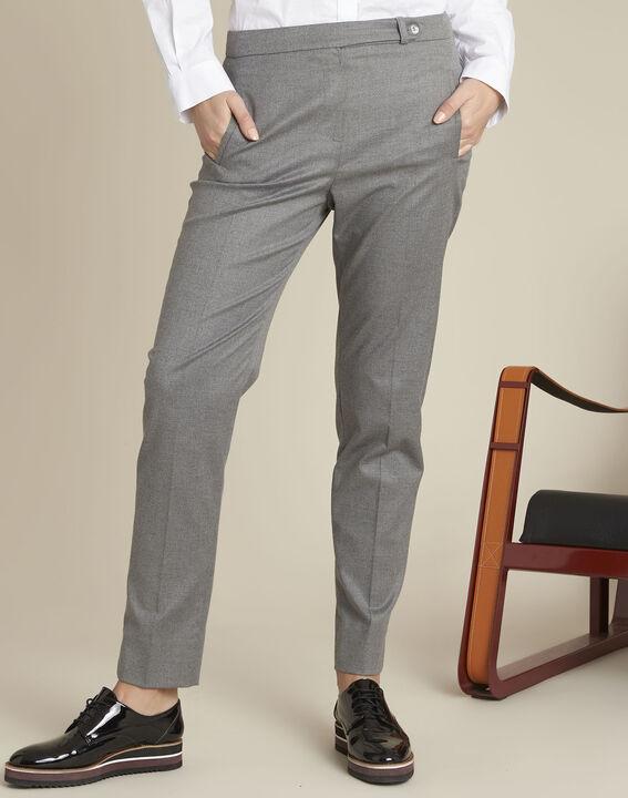 Pantalon cigarette gris zippé en viscose Lara (3) - Maison 123