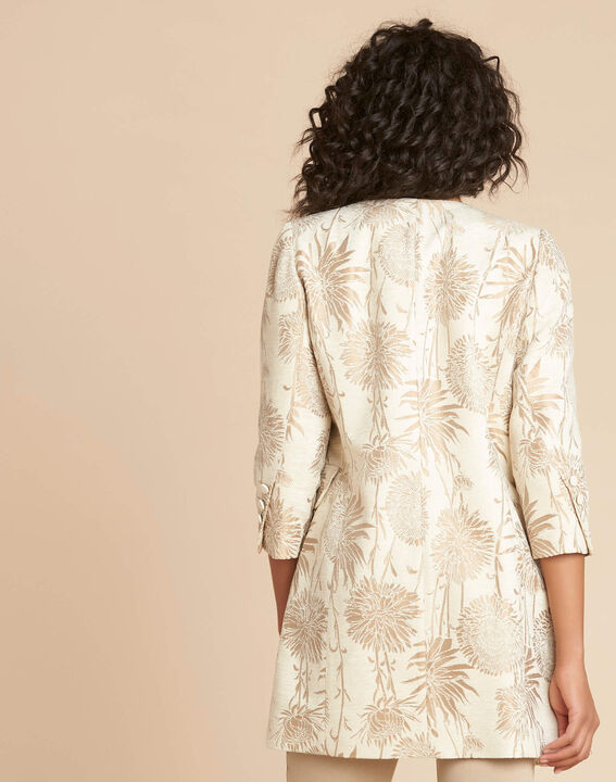 Langer beigefarbener Mantel mit Print Kamelia (4) - 1-2-3