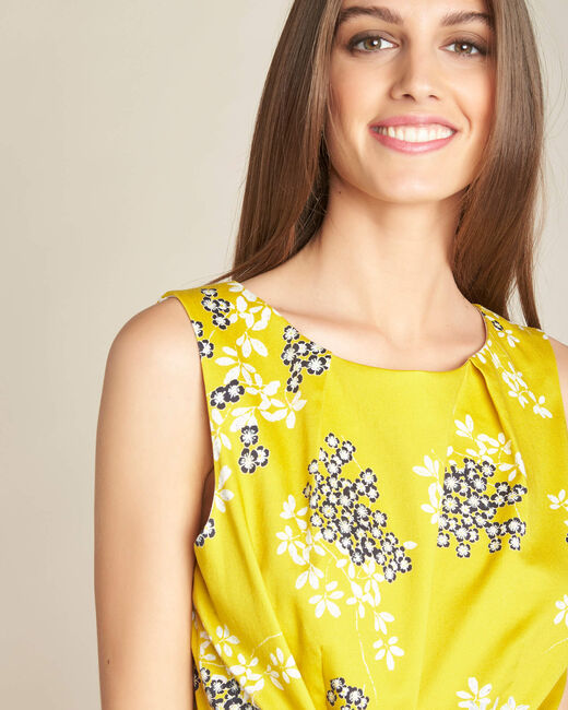Gelbes Kleid mit Blüten- und Blätterprint Irma (2) - 1-2-3
