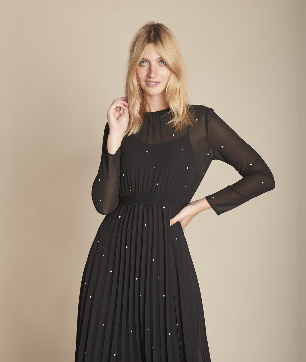 langes kleid schwarz plissiert mit pünktchenmuster iola