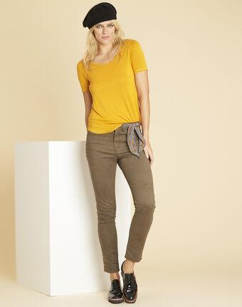 Glycel yellow t-shirt with golden threading sun.
