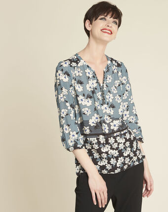 Clap navy blue blouse with floral print navy.