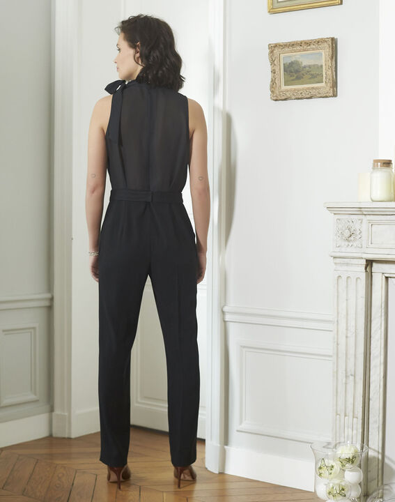 Nelly Jeweled Tapered Black Jumpsuit (4) - 1-2-3