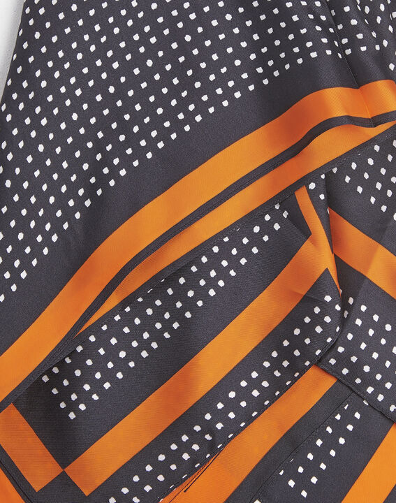 Flocon black and orange polka dot silk square (2) - 1-2-3