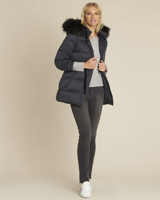 Peggy navy faux fur hooded down jacket (1) - 1-2-3