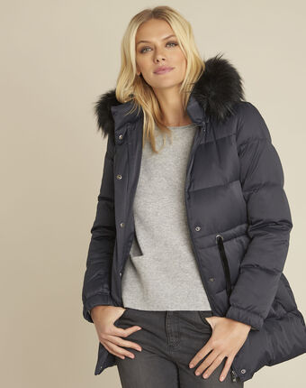 Peggy navy faux fur hooded down jacket navy.