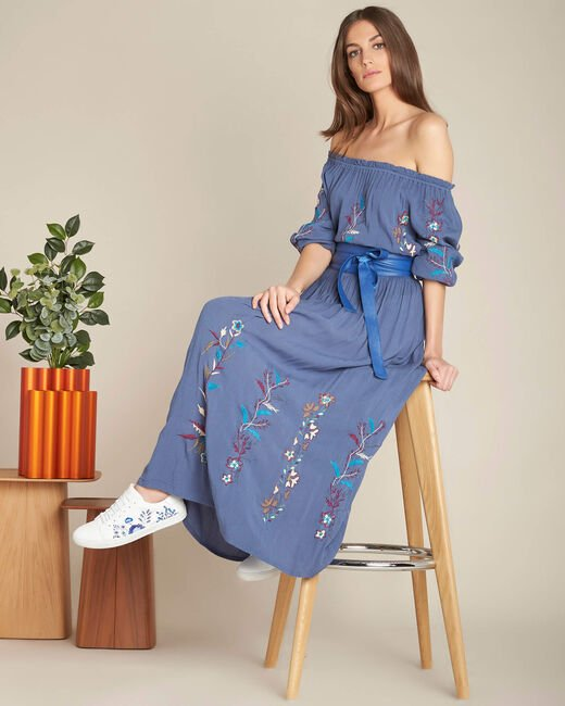 Lucy long embroidered blue skirt (2) - 1-2-3