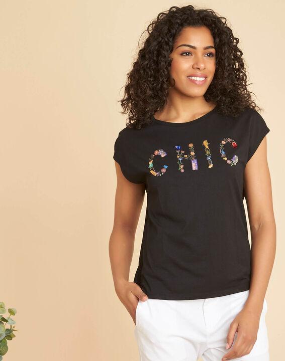 """Schwarzes T-Shirt mit """"Chic""""-Schriftzug Emilia (3) - 1-2-3"""