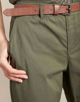 Pantalon slim kaki coton 7/8 francis kaki.