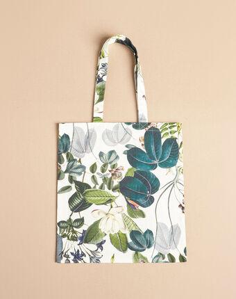 Ecru tote bag with flower print dark teal.