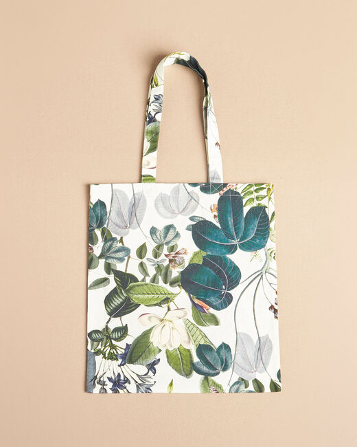 Ecru tote bag with flower print (1) - 1-2-3