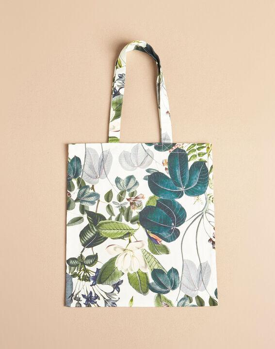 Tote bag écru imprimé floral (2) - 1-2-3