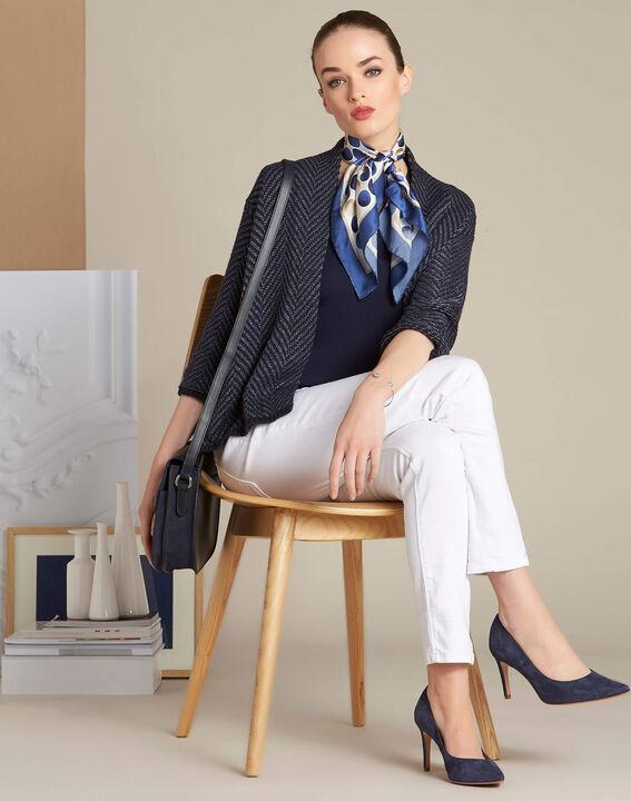 Alexi polka dot blue silk square scarf (3) - 1-2-3