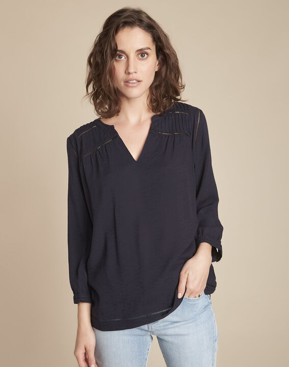 Marineblauwe blouse met kant Maureen PhotoZ | 1-2-3