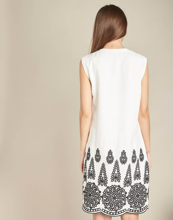 Pia cream embroidered dress in linen (4) - 1-2-3