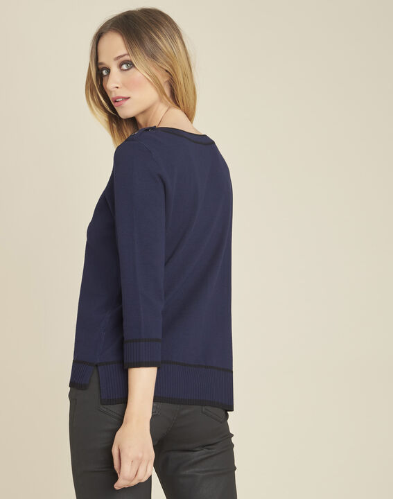 Bella navy blue sweater with rounded neckline and buttons on the shoulders (4) - 1-2-3
