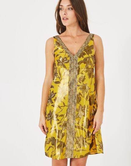 Robe jaune imprimé brillant Bonita (3) - 1-2-3