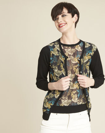 Bougainvillier leaf print cardigan in a cotton mix black.