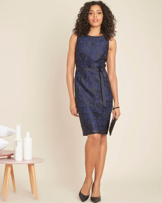 Icone navy lace dress with grosgrain belt (1) - 1-2-3