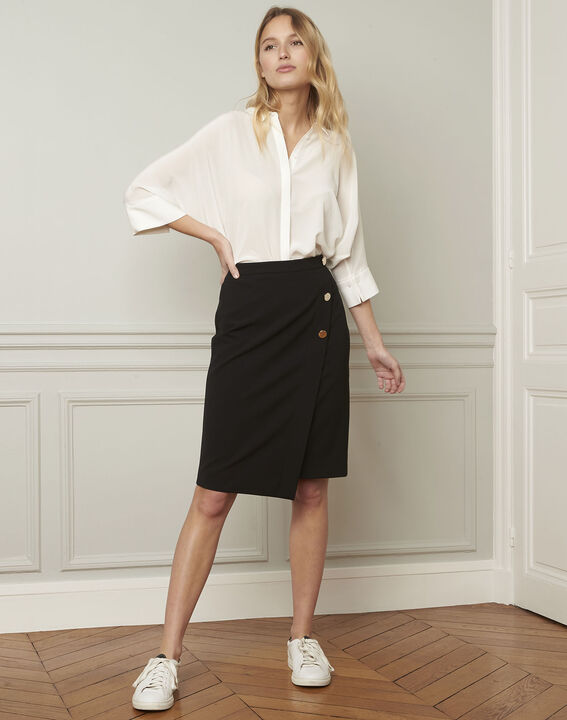 Sabine black skirt with microfibre buttons (1) - Maison 123