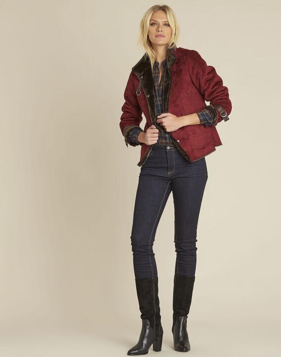 Sacha red high collar suedette jacket (2) - 1-2-3
