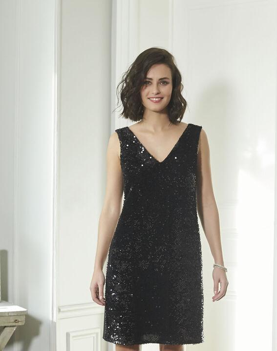 Schwarzes Kleid mit Metallplättchen Noce (1) - 1-2-3