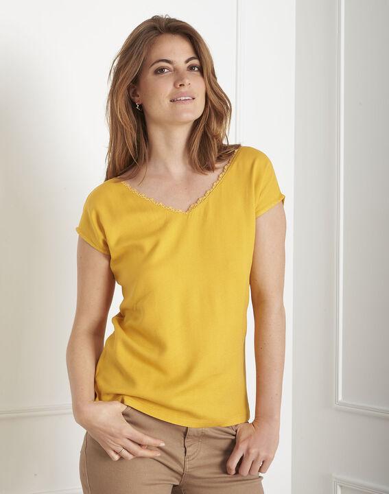 Tee-shirt jaune encolure dentelle Passion PhotoZ | 1-2-3