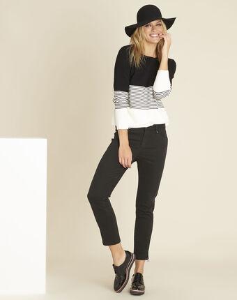 Pull noir et blanc col rond bonheur noir/blanc.