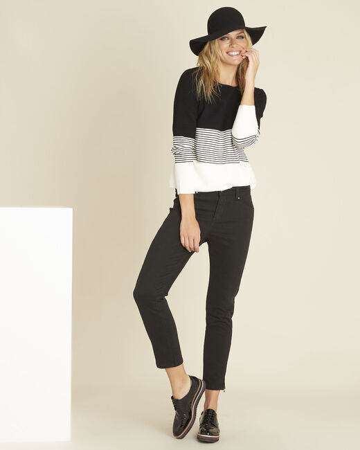Bico black and white sweater with rounded neckline (2) - 1-2-3