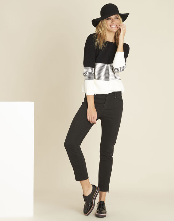 Bico black and white sweater with rounded neckline (3) - 1-2-3