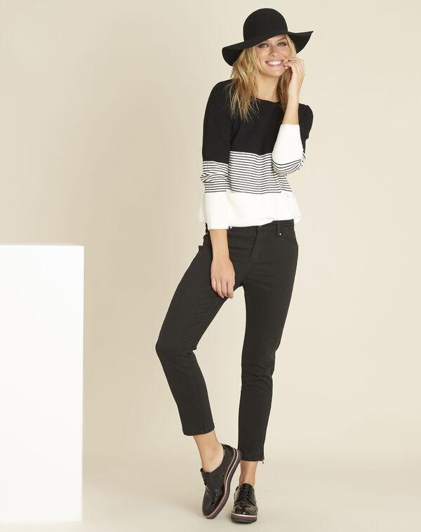 Zwart en witte trui met ronde hals Bico (2) - 37653