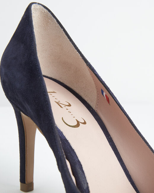 Kelly navy velvet-effect shoes with pointed toe (1) - 1-2-3