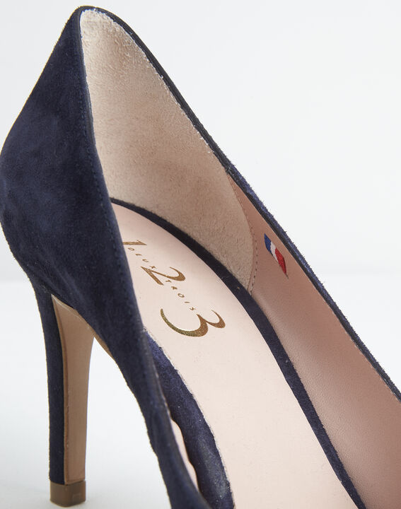 Kelly navy velvet-effect shoes with pointed toe (2) - 1-2-3