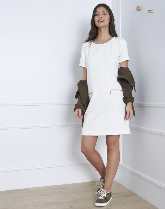 Robe blanche droite zips poches Legende (1) - Maison 123