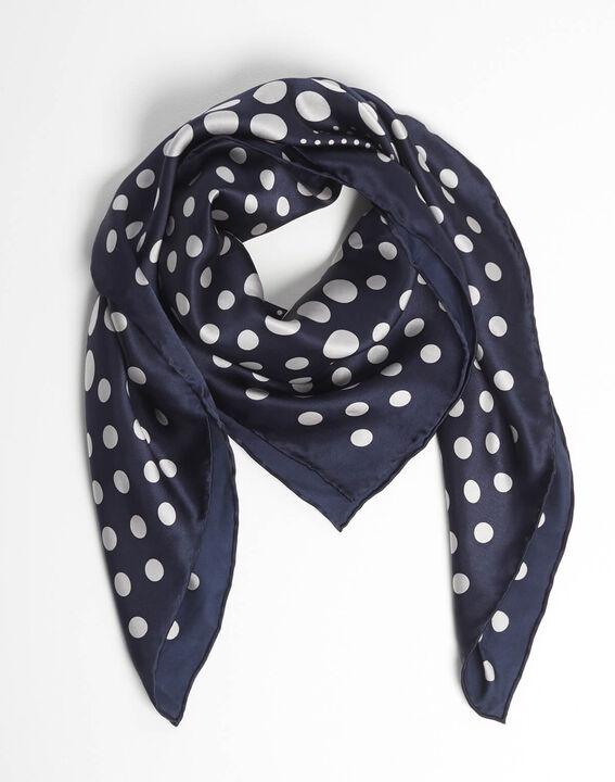 Aloise printed polka polka dot blue silk square scarf (2) - 1-2-3