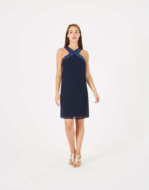Robe bleu encre détails sequins Gala (3) - 1-2-3