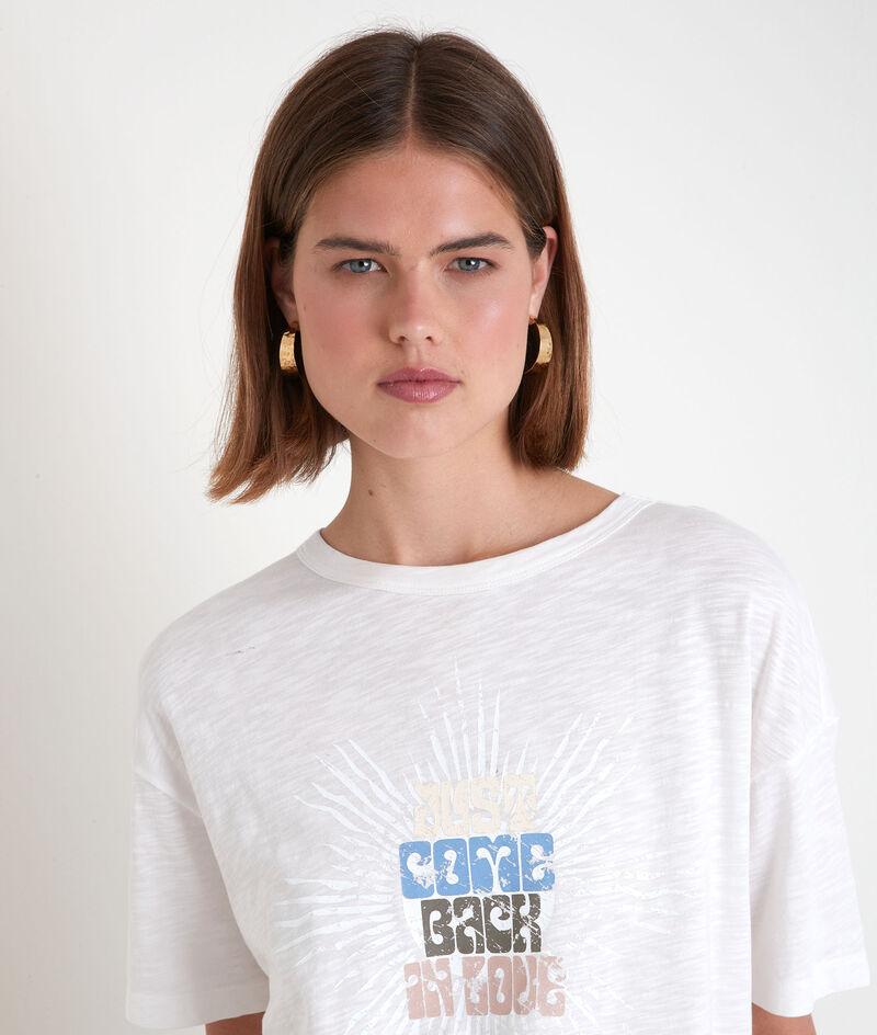 Tee-shirt en coton biologique à message écru Equinoxe PhotoZ | 1-2-3