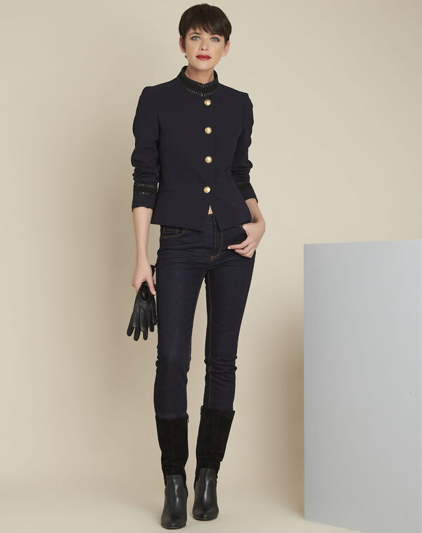 Shelby navy officer-style jacket with collar detailing (1) - 1-2-3