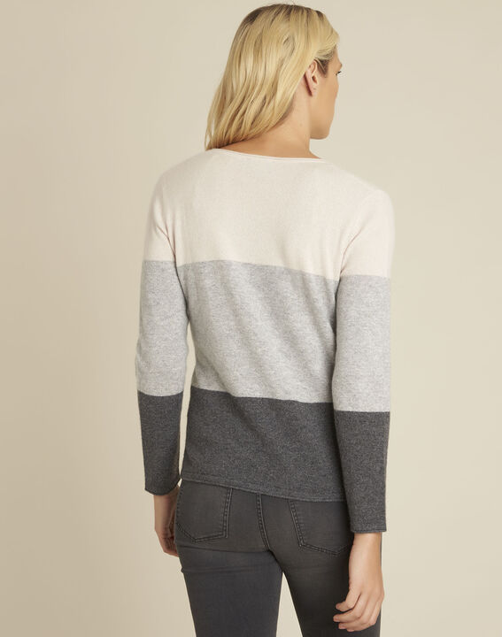 Band grey cashmere pullover with V-neck (4) - 1-2-3