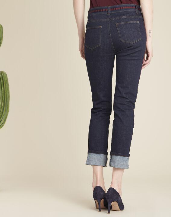 Marineblaue Straight Cut-Jeans mit seitlichen bordeauxroten Streifen Vivienne (4) - 1-2-3