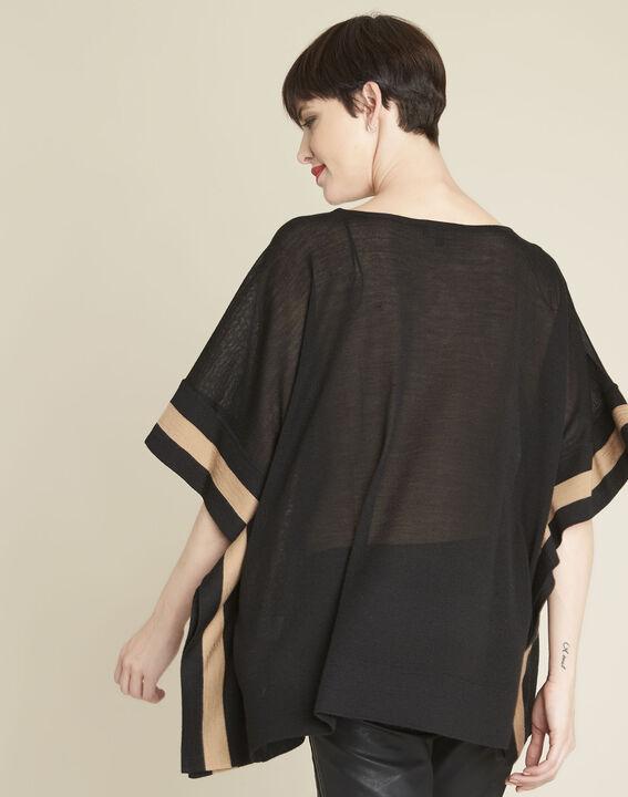 Poncho noir en laine mélangée Bettina (4) - 1-2-3