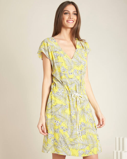 Palma yellow printed dress with tie (2) - 1-2-3
